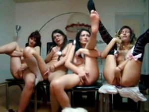 4 nude chicks touch each other sans..