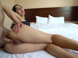 Leggy asian babe gets her round ass..