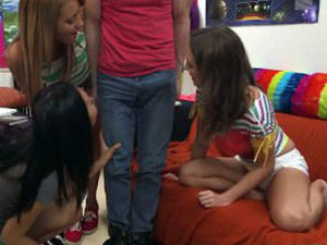 College young womans deep throating a..