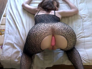 Young slip up on take sexy fishnets..